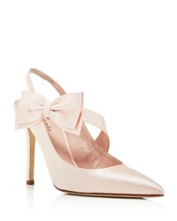 Kate Spade New York Livia High Heel Slingback Bow Pumps Rose Petal Pink