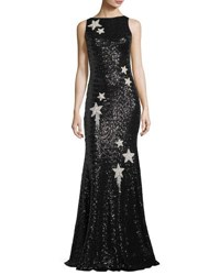 Theia Sleeveless Star Embellished Sequin Evening Gown Black