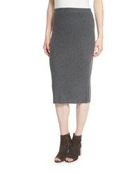 Eileen Fisher Project Cozy Luxe Wool Rib Pencil Skirt Gray Lt Grey