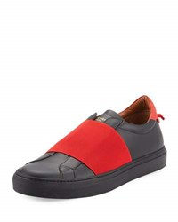 Givenchy Contrast Banded Leather Slip On Sneaker Black Red Black Red