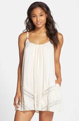 Women's Robin Piccone 'Danielle' Lace Trim Cover Up Dress Cream