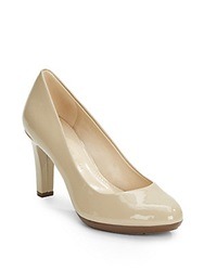 Ak Anne Klein Clemence Patent Leather Round Toe Pumps Light Natural