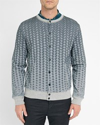 Carven Grey Grid Pattern Press Studs Jersey Baseball Jacket
