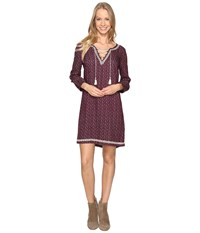 Lucky Brand Embroidered Ditsy Dress Purple Multi Women's Dress