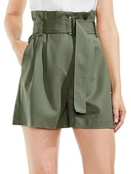 Vince Camuto High Waist Belted Paperbag Shorts Camo Green