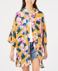 Say What Juniors' Floral Printed Tie Front Kimono Gold Floral