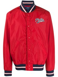 Polo Ralph Lauren Patch Button Up Bomber Jacket Red