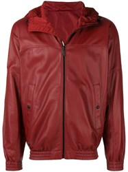 Bally Reversible Leather Hooded Jacket Red