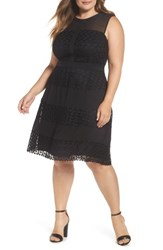 London Times Plus Size Women's Time Geo Galaxy Lace Fit And Flare Dress Black
