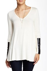Three Dots Long Sleeve Shirt With Faux Leather White
