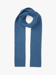 John Lewis And Partners Ribbed Cashmere Scarf Blue