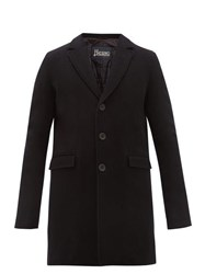 Herno Single Breasted Wool Blend Overcoat Black