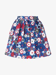 House Of Holland Floral Leather Mini Skirt Blue Multi Coloured White Grey Golden