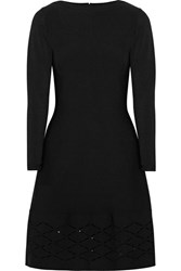 Lela Rose Laser Cut Stretch Knit Dress Black