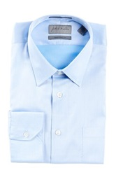 John W. Nordstrom Solid Traditional Fit Long Sleeve Dress Shirt Blue