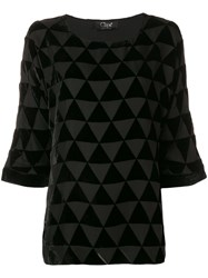 Clips Triangle Mosaic Blouse Black