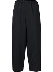 Comme Des Gara Ons Elastic Waistband Cropped Trousers Black