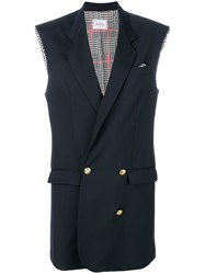 Forte Couture Sleeveless Double Breasted Vest Blue