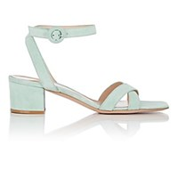 Gianvito Rossi Suede Ankle Strap Sandals Turquoise