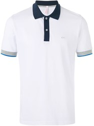 Sun 68 Bicolour Polo Shirt Men Cotton Spandex Elastane S White