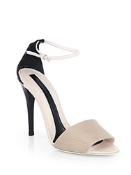 Narciso Rodriguez Lizard Embossed Leather Ankle Strap Sandals