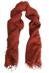 Chan Luu Frayed Cashmere And Silk Blend Scarf Brick