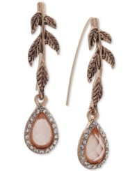 Lonna And Lilly Gold Tone Pave Colored Stone Leaf Drop Earrings Ivory