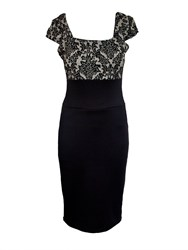 Feverfish Lace Print Contrast Dress Black