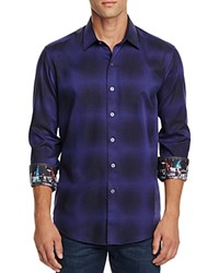 Robert Graham Dark Energy Blurred Check Classic Fit Button Down Shirt Dark Purple