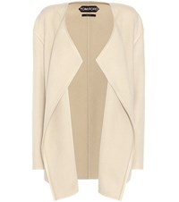 Tom Ford Leather Trimmed Cashmere Jacket Beige