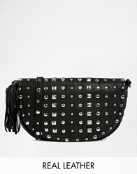 Maison Scotch Leather Studded Across Body Bag Black