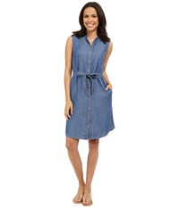 Tommy Bahama Chambray All Day Sleevless Dress Medium Worn Wash Women's Dress Blue