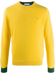 Sun 68 Embroidered Contrast Jumper Yellow