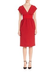 Agnona Cap Sleeve Boucle Dress Scarlet Red
