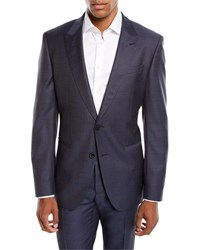 Boss Solid Peak Lapel Two Piece Wool Silk Suit Blue