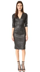 Narciso Rodriguez 3 4 Sleeve Leather Dress Black