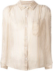 Mes Demoiselles Sheer Striped Blouse Women Polyester Viscose 40 Nude Neutrals