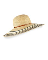 Yestadt Millinery Luna Striped Wide Brim Sun Hat Size S M 22.5 Natural