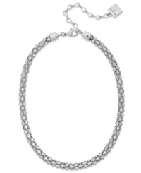 Anne Klein Silver Tone Pave Accent Tubular Collar Necklace