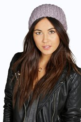 Boohoo Sequinned Slouch Beanie Hat Lilac