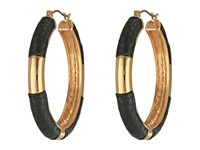 Guess Status Hoop Jet Gold Earring Black