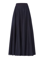 Replay Long Solid Cotton Skirt Blue
