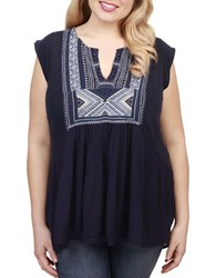 Lucky Brand Plus Embroidered Sleeveless Blouse Navy