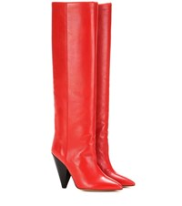 Isabel Marant Laith Leather Knee High Boots Red