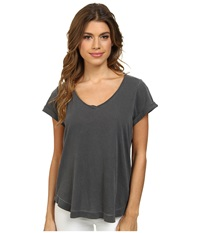 Splendid Vintage Whisper V Neck Tee Lead Women's T Shirt Gray
