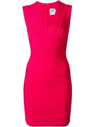 Herve Leger V Neck Bodycon Dress Pink And Purple