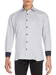 Jared Lang Speckled Cotton Button Down Shirt Grey
