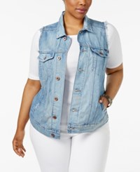 Lucky Brand Trendy Plus Size Denim Trucker Vest Blue