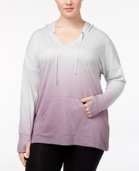Ideology Plus Size Dip Dyed Hoodie Created For Macy's Grape Dip