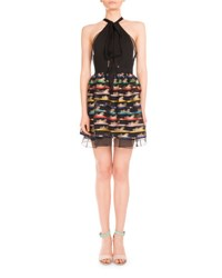 Mary Katrantzou Cheetah Print Self Tie Halter Dress Multi Black Multi Colored